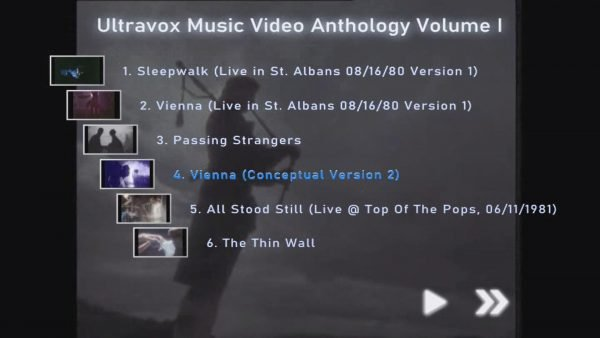 ULTRAVOX Music Video Anthology Volume I Menu Page 1 of 4