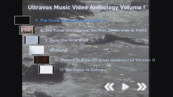 ULTRAVOX Music Video Anthology Volume I Menu Page 2 of 4
