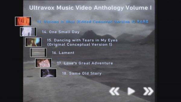 ULTRAVOX Music Video Anthology Volume I Menu Page 3 of 4