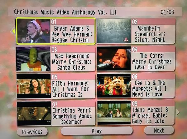 CHRISTMAS Music Video Anthology 3 DVD Set Volume III Menu Page 1 of 3