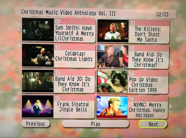 CHRISTMAS Music Video Anthology 3 DVD Set Volume III Menu Page 2 of 3