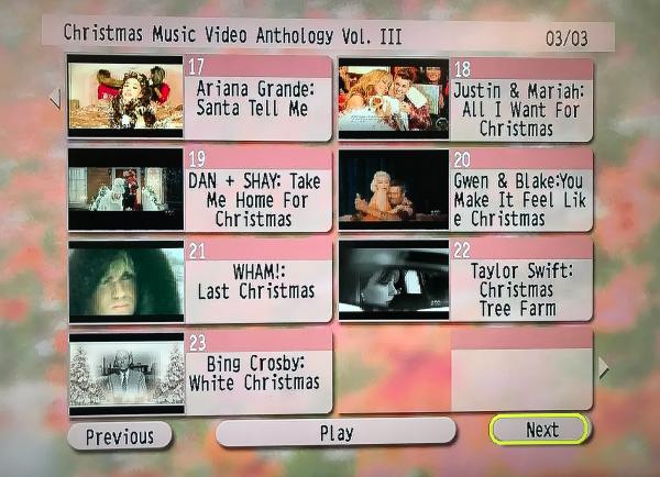 CHRISTMAS Music Video Anthology 3 DVD Set Volume III Menu Page 3 of 3