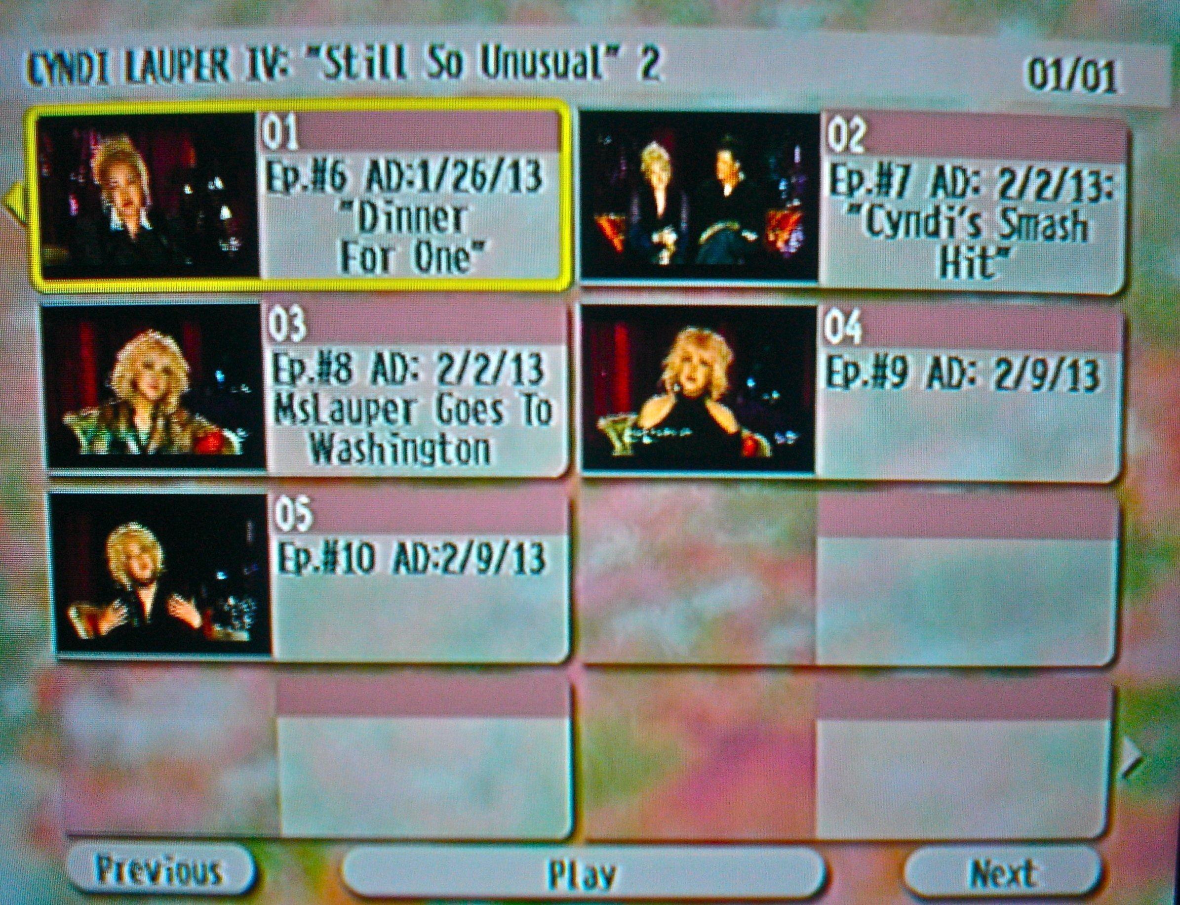 "Cyndi Lauper The Video Archives 2013 Volume IV (""Still So Unusual"" Season 1 Disc 2 of 3)"