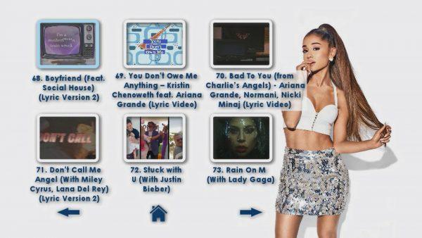 ARIANA GRANDE Music Video Reel 4 DVD Menu Page 3