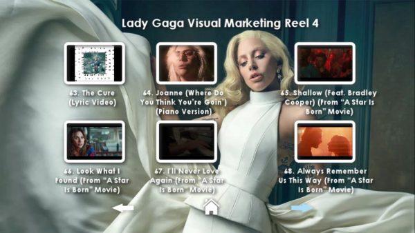 LADY GAGA Visual Marketing MUSIC VIDEO Reel DVD 4 Menu Page 2