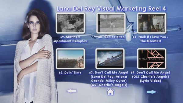 LANA DEL REY Music Video Reel Disc 4-Menu Page 2