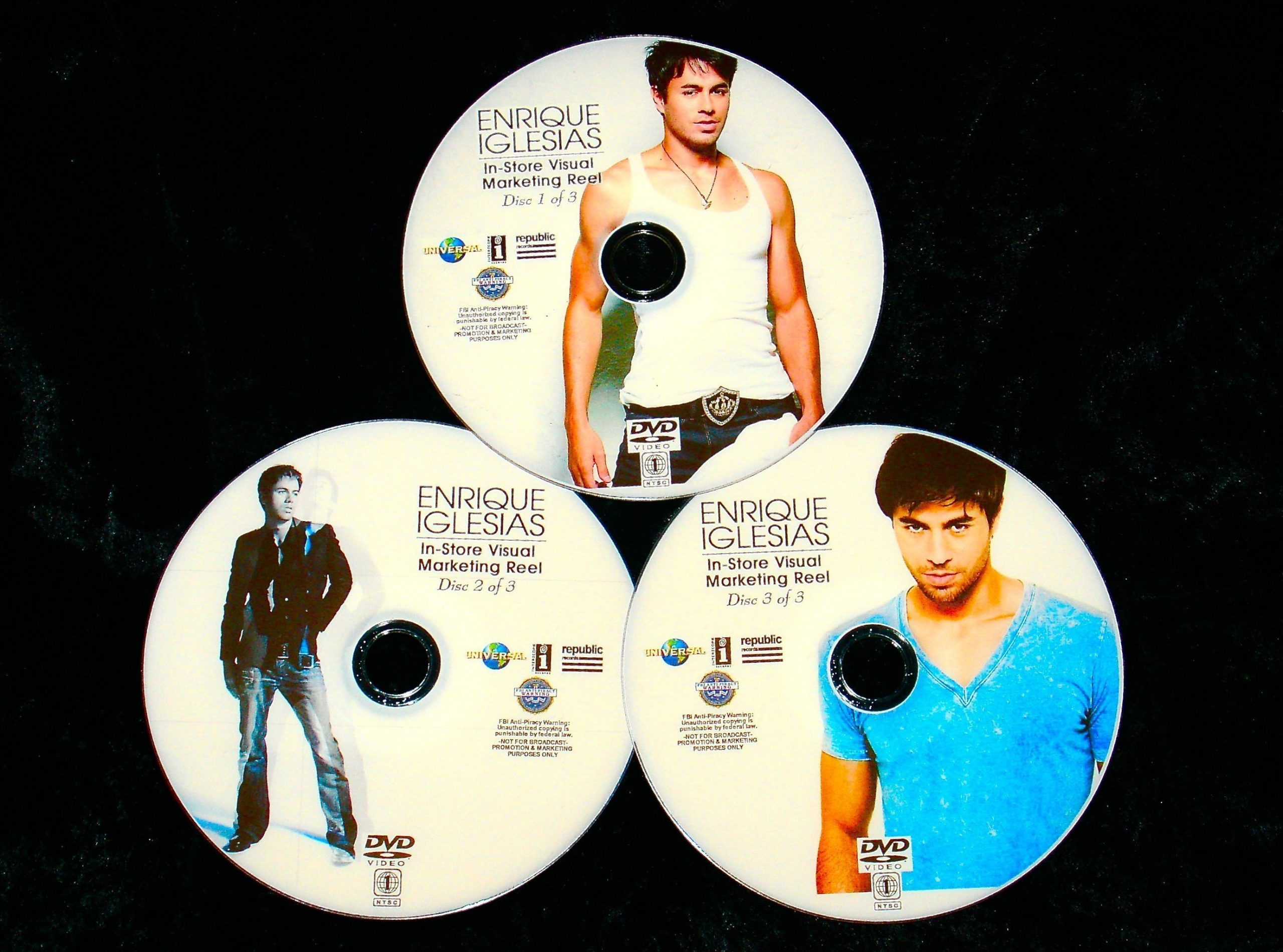 ENRIQUE IGLESIAS In-Store Visual Marketing Reel 55 Music Videos 3 DVD Set