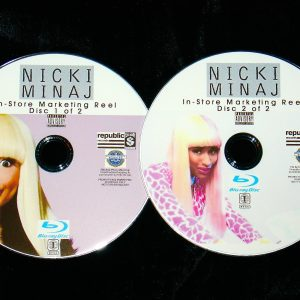 NICKI MINAJ In-Store Marketing Music Video Reel 2 BLU-RAY DVD Set (Blu-Ray format ONLY - 70 Music Videos and includes Pharrell, Nelly, Rihanna, David Guetta, Massive Attack, Mariah Carey, Rick Ross, Nicki Minaj, Jay-Z, Bon Iver, Justin Bieber and MORE!!!