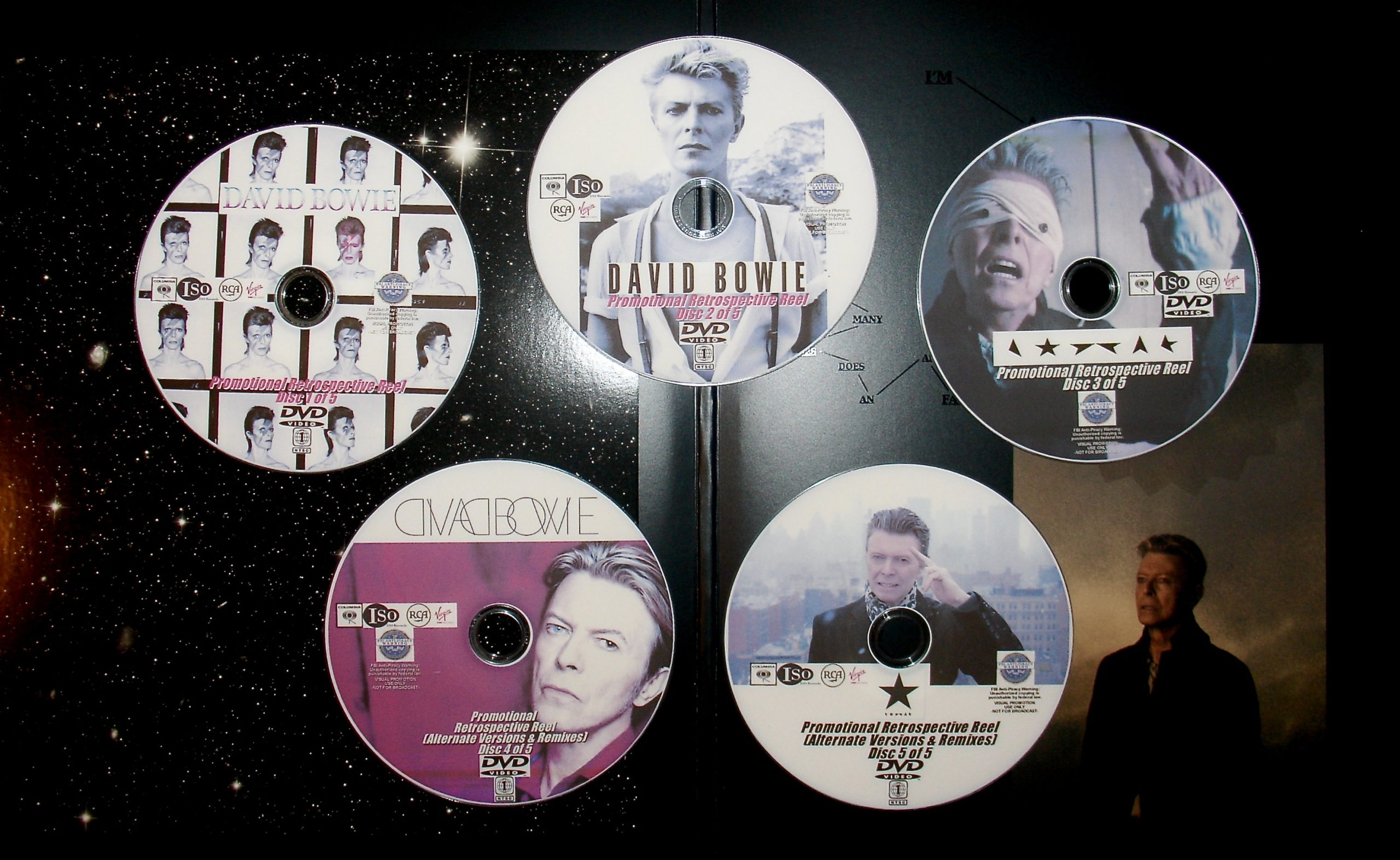 DAVID BOWIE Promotional Retrospective MUSIC VIDEO Reel 1967-2016 5 DVD Set (Featuring Tin Machine, Pat Metheny Group, Mick Jagger, Placebo, Pet Shop Boys and MORE)