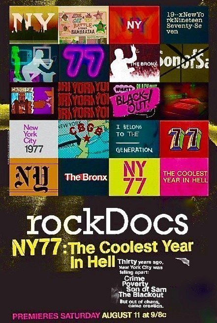 NY77: The Coolest Year in Hell DVD (Documentary 2007) -Interviews with Gloria Gaynor, Afrika Bambaataa, Chris Stein (Blondie), Richard Hell, KRS-One, Grandmaster Caz, DJ Disco Wiz, DJ Hollywood, Tommy Ramone (The Ramones), Talking Heads, Blondie