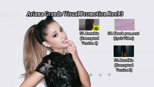 ARIANA GRANDE Music Video Reel 3 DVD Menu Page 6