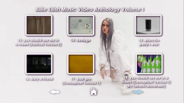 Billie Eilish Music Video Anthology Volume I DVD Menu Page 4