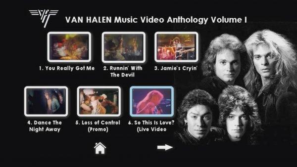 VAN HALEN The Music Video Anthology 1978-1993 Volume I Menu Page 2 of 6