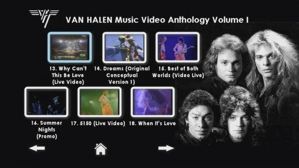 VAN HALEN The Music Video Anthology 1978-1993 Volume I Menu Page 4 of 6