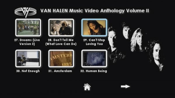 VAN HALEN The Music Video Anthology 1993-2012 Volume II Menu Page 2 of 3